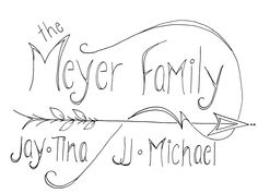 Meyer Family Drawing black and white, framed original art lettering, swirls, arrow, tattoo style Family Drawing, Black And White Lines, Swirls, Arrow, Art Nouveau, How To Draw Hands, Original Art, Lettering, The Originals
