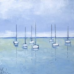 """""""Flotilla"""" by Ellen Welch Granter. 12"""" X 12"""", Oil on Canvas. Available at www.maine-art.com"""