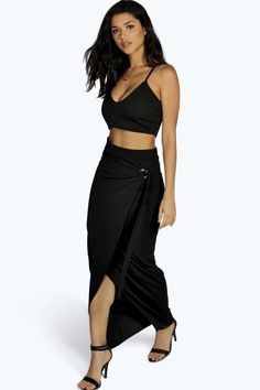 D Ring Wrap Front Maxi Skirt black