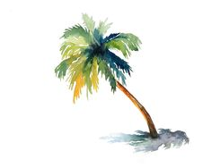Palm Print from my original watercolor painting 10x8 inch. $18.00, via Etsy.