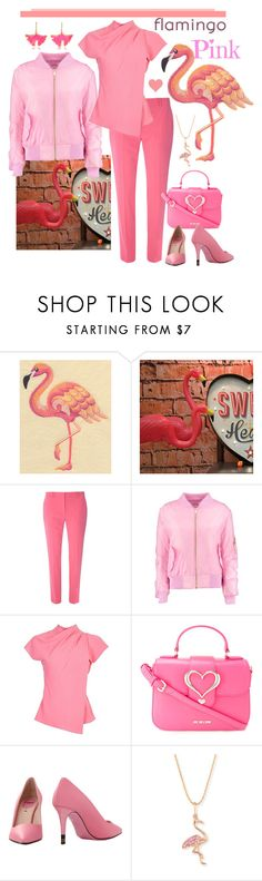 """Flamingo Pink Monochrome"" by giovanina-001 ❤ liked on Polyvore featuring Dorothy Perkins, Boohoo, Topshop, Love Moschino, Fendi, Sydney Evan, Aurélie Bidermann and monochromepink"