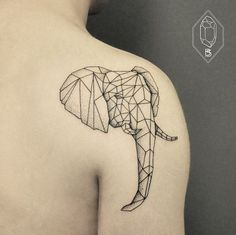 Geometric Line And Dot Tattoos By Turkish Artist Prove Less Is More   Bicem Sinik might be Turkey's Dr. Woo. This young female artist uses fine monochromatic lines to create geometric animals and other minimalist forms. The difference between Bicem Sinik and Dr. Woo is that Sinik sometimes uses subtle dots for basic shading, creating some depth in her images.