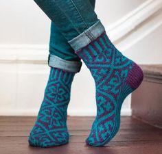 Brocade Socks Knitting Kit by Lauren Osborne featuring Cloudborn Highland Superwash Sock Twist Yarn   Craftsy