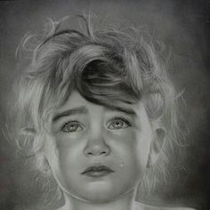 Pencil drawing. The tear rolling down her cheek looks so real it's unbelievable!