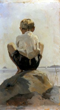 Boy crouching on Rock by Albert Edelfelt. Edelfelt studied art in Antwerp Paris and Saint Petersburg Painting People, Figure Painting, Art Du Monde, Rock Posters, Art Studies, Art Themes, Beach Art, Vincent Van Gogh, Figurative Art