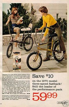 "1970 Raleigh Chopper ad. Mine was the Girly MK1 with the white seat in ""Space Blue."""