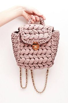 Dusty pink backpack Summer backpack T-shirt yarn backpack Vegan backpack purse Small handmade backpack - This is a pink crochet little backpack. The shoulder bag t-shirt yarn will be a unique sister gift. Crochet Backpack, Backpack Purse, Small Backpack, Backpack Pattern, Rucksack Backpack, Mini Backpack, Unique Gifts For Sister, Tshirt Garn, Mochila Crochet