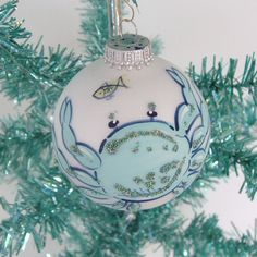 crab shell ornaments | Christmas Bulb Glass Handpainted Crab by SandisShellscapes on Etsy