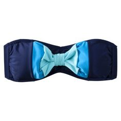 Juniors Bandeau Swim Top with Bow - Navy Blue/Blue : Target
