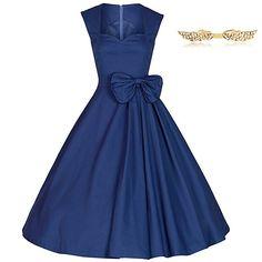 BYD Mujeres Retro Vestidos sin Manga Corte Imperio Elegante Vintage Arco Vestido Verano #fashion #moda #circulogpr #primavera #guapa #happy #love #iloveyou #smilling #style #fashioninspiration #beautiful #años50