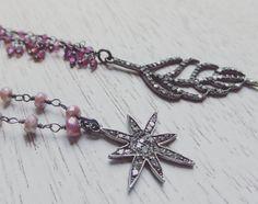 Pave Diamond Starburst and Light Raspberry Silverite Necklace / Designer Boho…