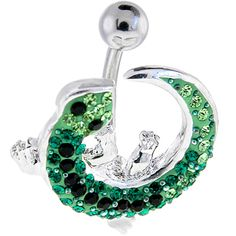 $18.99 lizard, belly ring, bellyring, belly button ring, piercing, navel ring, belly bar, body candy, body jewelry, bodycandyAustrian CRYSTAL IZZY LIZZY Curvacious Belly Ring