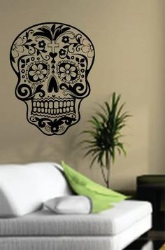 Dabbledown Decals Sugarskull Wall Vinyl Decal Sticker Art Graphic Sticker Sugar Skull ** Continue to the product at the image link. (This is an affiliate link) Skull Wall Art, Skull Decor, Vinyl Wall Decals, Wall Stickers, Passion Deco, Wow Art, Skull And Bones, Decoration, Sugar Skulls