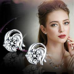 Constellation Zircon Stud Earrings Fashion Women Silver Earrings Small Earrings Jewelry Accessories Gift for Women Lady Girls