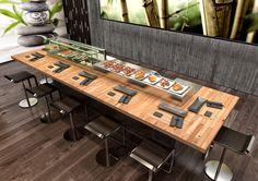 Sushi restaurant. Sushi demo. Ninja Sushi, Sushi Bar Design, Sushi Restaurants, Sashimi, Kitchen, Table, Shop, House, Furniture