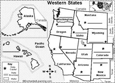 Midwest Map With Capitals Label Midwestern US States Printout - Map of west us states
