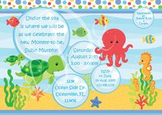 under the sea baby shower invitation primary colors