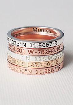 personalized longitude and lattitude rings