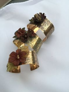 Handcrafted brass cuff, etched brass cuff, antique patina brass cuff & enameled flower and leave,etched flowers brass cuff