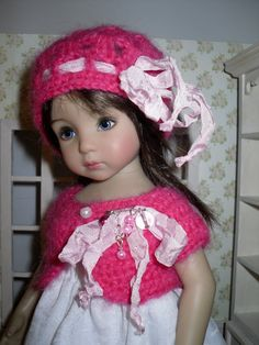 Crochet set for Dianna Effner Little Darling 13 inches doll including:  - hat, - bolero.   All items are handmade.  This listing does not include