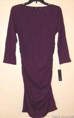 NWT Apt.9 Side Shirred T-shirt Dress M. 3/4 Sleeves Potent Purple $50 #Apt9 #StretchBodycon #Clubwear
