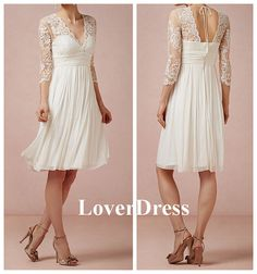 Short Wedding Dress, Wedding Dress with Sleeves, Lace Wedding Dress, V Neck Wedding Dress, White Wedding Dress / Prom Dress with Sleeves