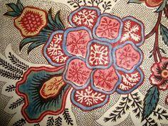 Toile de Jouy block printed cotton chintz c1780-1800