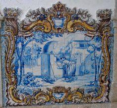 FORNEIRA - Painel de azulejos da Estação da CP de Fronteira, Alentejo.