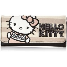 Hello Kitty Striped Canvas Trifold Wallet (€33) ❤ liked on Polyvore featuring bags, wallets, striped bag, tri fold wallet, pocket wallet, canvas wallet and triple fold wallet
