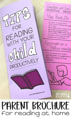 "Tons of tips for teachers to help the ""reading relationship"" between parent and child. Plus a handy parent brochure for reading with their child, perfect to pass out at a Meet-the-Teacher-Night or parent - teacher conferences. From The Thinker Builder Kids Reading, Guided Reading, Teaching Reading, Teaching Tips, Learning, College Teaching, Shared Reading, Reading Conference, Parent Teacher Conferences"