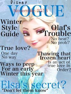 Disney Vogue Elsa from Disney's Frozen Frozen Heart, Elsa Frozen, Disney Frozen, Disney And Dreamworks, Disney Pixar, Walt Disney, Funny Disney, Jelsa, Disney Love