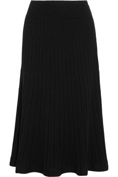 DKNY - Ribbed Stretch-knit Midi Skirt - Black