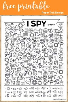 Beach themed kids I spy activity free printable. Fun summer boredom buster to keep kids busy and screen free at home or a class party school activity. Summer School Activities, Beach Activities, Preschool Activities, Summer School Themes, I Spy Games, Hidden Pictures, Paper Trail, Preschool Worksheets, Fun Worksheets For Kids