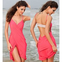 Sexy Spaghetti Strap Solid Color Backless Women's Cover Up