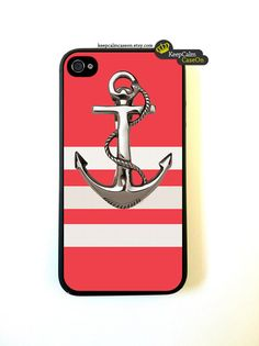 Iphone 4 Case Anchor On Stripes Pattern iphone