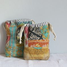 https://flic.kr/p/q9z6Fi | Drawstring bags kantha fabrics | Blogged www.roxycreations.blogspot.com