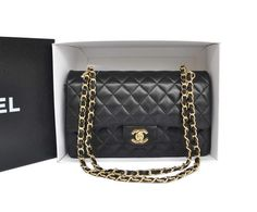 28b44c48a641 Chanel bgas and Chanel handbags Chanel Flap Bag Original Leather Black Gold  333