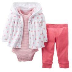 Newborn : Carter's Floral Hooded Cardigan Set - Baby