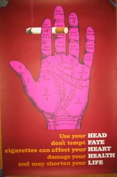 Mount Evans hand palmistry stop smoking vintage poster central office of information