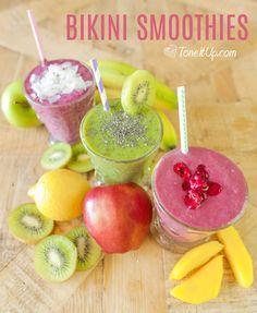 Forget bikini season, it's FRUIT season! Sip in style and hydrate skin with these smoothie recipes from @toneitup. Mango, kiwi and pineapple, here we come!
