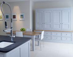 Built in kitchen sideboard. Bespoke Furniture, Classic Furniture, Handmade Furniture, Painted Furniture, Kitchen Sideboard, Kitchen Dining, Kitchen Inspiration, Kitchen Ideas, Larder Cupboard