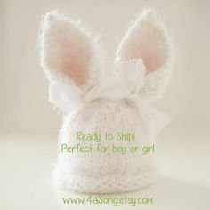 Baby Bunny Hat Photo Prop  Ready to Ship in 1 Business by 4aSong, $34.00