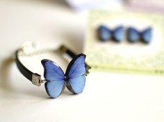 Pulsera cuero mariposa Azul, Complementos, Pulseras, Bisutería, Pulseras, Bisutería, Arcillas poliméricas, Cuero y piel, Pulseras