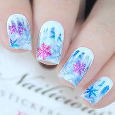Christmas Nail Stickers, Christmas Nail Designs, Nail Art Stickers, Christmas Nail Art, Trendy Nail Art, Nail Art Diy, Cool Nail Art, Winter Nail Art, Winter Nails