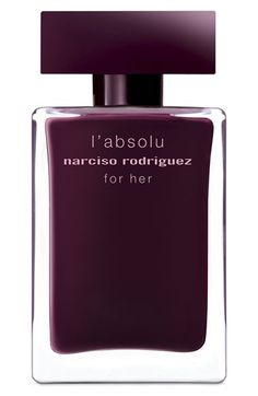 Narciso Rodriguez 'For Her L'Absolu' Eau de Parfum available at #Nordstrom - Top: floral accord, jasmine. - Middle: musk amber accord, amber, musk. - Base: woody accord, patchouli, sandalwood.