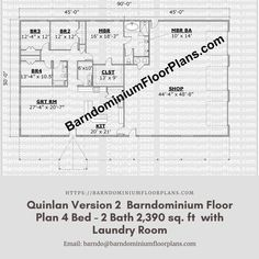 $595. Quinlan 50′ x 45′ – 4 bedroom – 2 bathroom (2,250 sq ft) with Laundry room. We sell semi-custom Barndominium floor plans and provide helpful tips to design and build your home whether it is DIY or you are paying a company. #architecture #barndominiums #home #modernbarn #barnhomefloorplans #beautifulbarn #homefloorplan #barnlife #barnhomedesign #housedesign #barndominiumfloorplans #floorplan #dreambarn #barnhouse #laundryroom #floorplan #housefloorplan