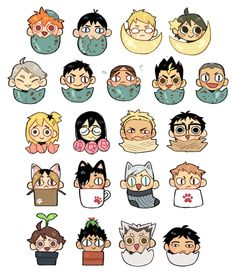 "hawberries: "" updated the tiny haikyuu catalogue (these will be available as buttons and stickers late june-ish!) """