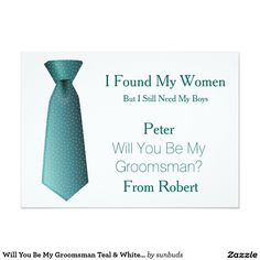 Will You Be My Groomsman Teal & White Tie 5x7 Paper Invitation Card