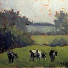 Heidi Malott Original Paintings: Holstein Cows Painting Summer Landscape Oil Painting