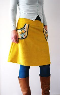 yellow vintage inspired skirt with floral pockets! Love!